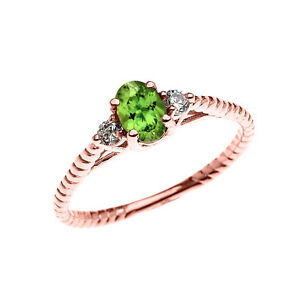10k Rose Gold Dainty Solitaire Peridot & White Topaz Promise Rope Design Ring