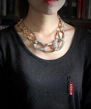Collar De Cadena Cristal Brillante Dorado Plateado Clase Mono Vintage Retro BAN