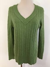 Ann Taylor LOFT Petites V-Neck Cable Knit Sweater Grass Green Size LP