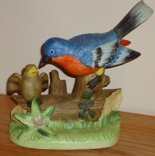 "Red Breasted BLUE BIRD Mother Feeding Baby Fledgling ceramic figurine 5""H"