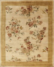 French Style Ivory Aubusson Hand-Tufted Floral Area Rug Thick Plush Carpet 8x10