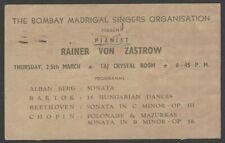 Rainer Von Zastrow Pianist 1965 India performance advertisement
