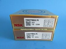 NSK 7206CTYNSULP4 Abec-7 Super Precision Spindle Bearings. Matched Set of Two