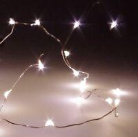 Micro LED Draht Lichterkette mit 10 LED´s warmweiß, Batteriebetrieb Tischdeko DE