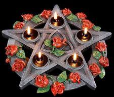 Porte-bougies - Pentacle avec roses - Déco Chandelier Gothique