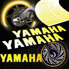 "8"" Reflective Logo Decal+Fire/Flame Rim Tape/Wheel Stripe Sticker Yamaha Yellow"