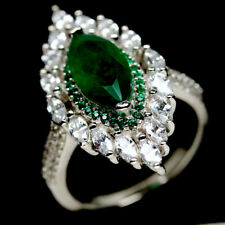 6 X 12mm. FOREST GREEN DOUBLET EMERALD & CZ STERLING 925 SILVER RING SZ 6.25