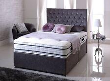 "5"" King-size Chenille Fabric IBEX DIVAN BED + Mattress + 24"" free Headboard - UK"