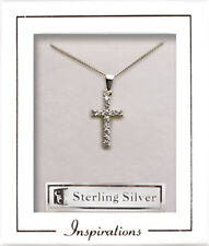 Delicate Sterling SIlver  Cross with Diamante Stones