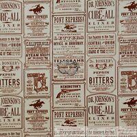 BonEful Fabric FQ Cotton Quilt Cream Brown VTG Old Newspaper Cowboy Pony Express
