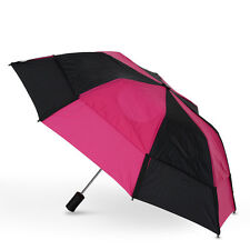 GustBuster Metro Auto Vented Folding Umbrella - Black & Hot Pink