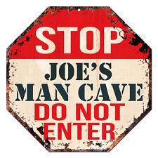 OTGM-0051 STOP JOE'S MAN CAVE Tin Rustic Sign Man Cave Decor Gift Ideas