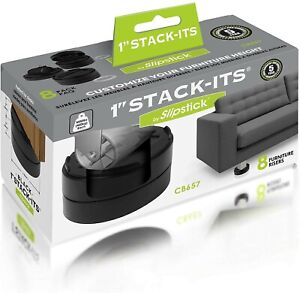 """Slipstick 1"""" Stack-Its Adjustable Furniture Risers, Heavy Duty 8 Pack, Black,"""