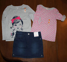 NWT Gymboree Fairy Tale Forest  3pc Set Outfit: set 2 tops & Denim Skirt Size: 5