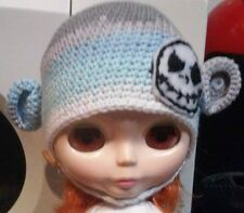 Blythe cute Grey & Blue knitted hat ,  Outfit , doll not enclosed