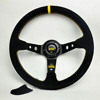 350mm OMP Black Suede Leather Deep Dish Steering Wheel For MOMO Hub Drifting YL