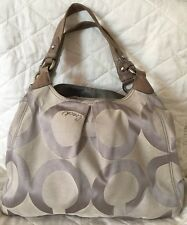 COACH 13894 Gray Op Art Maggie  Hobo Shoulder Tote Handbag