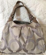 COACH 13894 Gray Op Art Maggie  Hobo Shoulder Tote Handbag