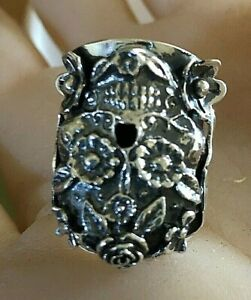 Heavy Well Made Large 21.3-23 Gram Skull 925 Sterling Silver Taxco Mexico Ring
