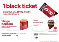 AMC Theaters 1 Black Ticket, 1 Large Drink, & 1 Large Popcorn FAST E-Delivery