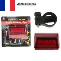 Feu Arrière Lampe de Vélo 5 LEDs Bicyclette VTT Rouge Fixe ou Clignotant