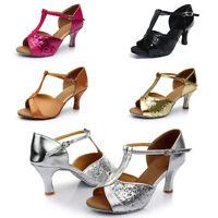 New Women's Ballroom Latin Tango Dance Shoes Heeled Salsa Sequin Shoes Size 6-9
