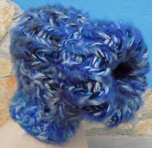 Langhaar Morhair BALACLAVA Mütze Wolle STURMHAUBE blau Grobstrick sehr dick