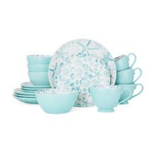 Pfaltzgraff Venice 16-Piece Dinnerware Set Kitchen Stoneware Turquoise Round New