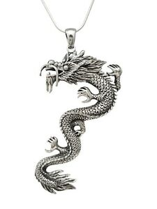 Statement Large 925 Sterling Silver Dragon Pendant