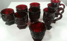 """Vintage Avon 1876 Ruby Red Footed Handle Mugs, Footed Cups, 3 1/2"""" Bowl 9pcs."""