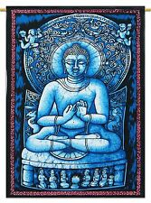 Lord Buddha Indian Wall Hanging Cotton Tapestry Poster Size Blue Decor Throw