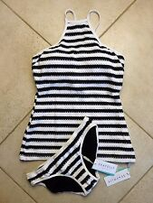 Seafolly Tankini AU 8 Black & White Coast C-D High Neck Singlet Top & Hipster