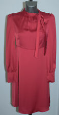 M&s Size 20 Ladies Smart Lightweight Red Stretchy Dress Tie Neck Work Party