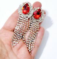CLIP ON Peagant Chandelier Earrings Red Rhinestone 3.2 inch
