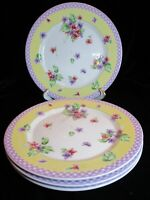 WAVERLY GARDEN ROOM FIELD OF FLOWERS VIOLETS YELLOW BORDER 4 DINNER PLATES