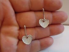 925 STERLING HEART DANGLING STUD EARRINGS W/ 1 CT ACCENTS/ MICRO PAVE SETTING