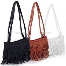 Womens Vintage Faux Leather Fringe Tassel Satchel Shoulder Handbag Crossbody Bag
