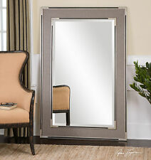 "Stately Rich 61"" Oversized Gray Beveled Floor Mirror Aged Silver & Black Accent"