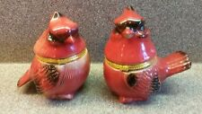 2 COLLECTIBLE CERAMIC PORCELAIN RED CARDINAL TRINKET BOX BOXES