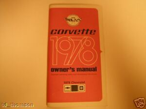 GM 1978 Chevy Corvette Owner's Manual (a) #460294A