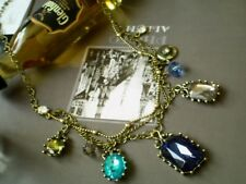 Vintage look Faux Blue Gems Charm  Necklace - New