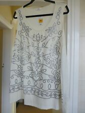 BNWT MARKS & SPENCER IVORY SLEEVELESS TOP SCOOP NECK SEQUINNED FRONT SIZE 24