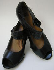 Sofft Shoes Black Mary Jane Peep Toe Heels Womens Size 9M