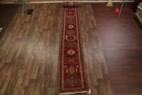Vintage Geometric Gharajeh Hand-Knotted Palace Size Runner Rug 3x32 Wool Carpet