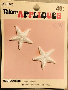 """Vintage Two White Stars Appliques Patch Talon 1.25"""" New In Package 1970's Rayon"""
