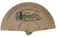 Vintage Penang Island Pictures Paper Wood Hand Fan