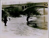 GA2 Orig Photo POLICE INVESTIGATION Skin Divers Search for Clues Frozen River