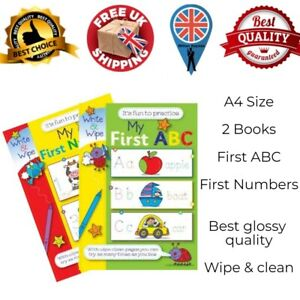 Set of 2 A4 size My First 123 & ABC Wipe Clean Educational Pre-School Books UK
