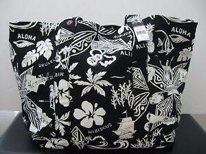 POLO RALPH LAUREN Black/White Hawaiian Canvas Cotton Tote