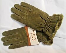 Isotoner Womens NEW Leather With Micro Lux Lining Gloves Olive Medium Orig $40
